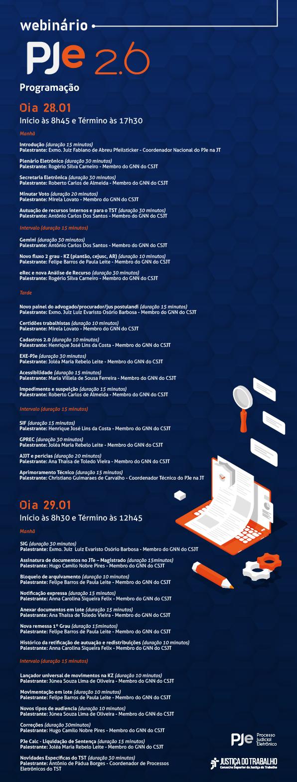 Imagem divulgacional da programação do Webinário PJe 2.6. Créditos: CSJT.