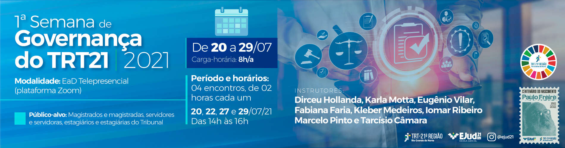 EJud21 promove 1ª Semana de Governança Institucional do TRT21
